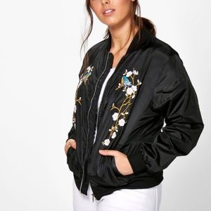 Boohoo Floral Bird Embroidered Black Bomber Jacket